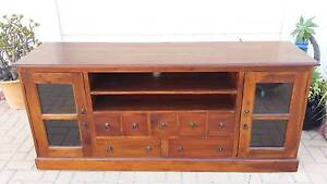 LARGE TEAK TV BENCH, GLASS DOORS, GC! Greenslopes Brisbane South West Preview