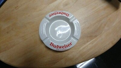 Vintage Budweiser King of Beers Ashtray Haeger Made in USA White Ceramic Busch
