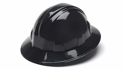 Pyramex Hp24111 Black Full Brim Hard Hat Wratchet Suspension