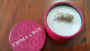 Emma&Roe 10ct yellow gold diamond set hearts RRP $449ea Browns Plains Logan Area Preview