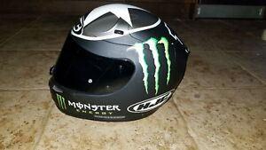Hjc monster energy motorcycle helmet with clear and smoked visor