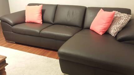 Genuine leather lounge with chaise Double Bay Eastern Suburbs Preview