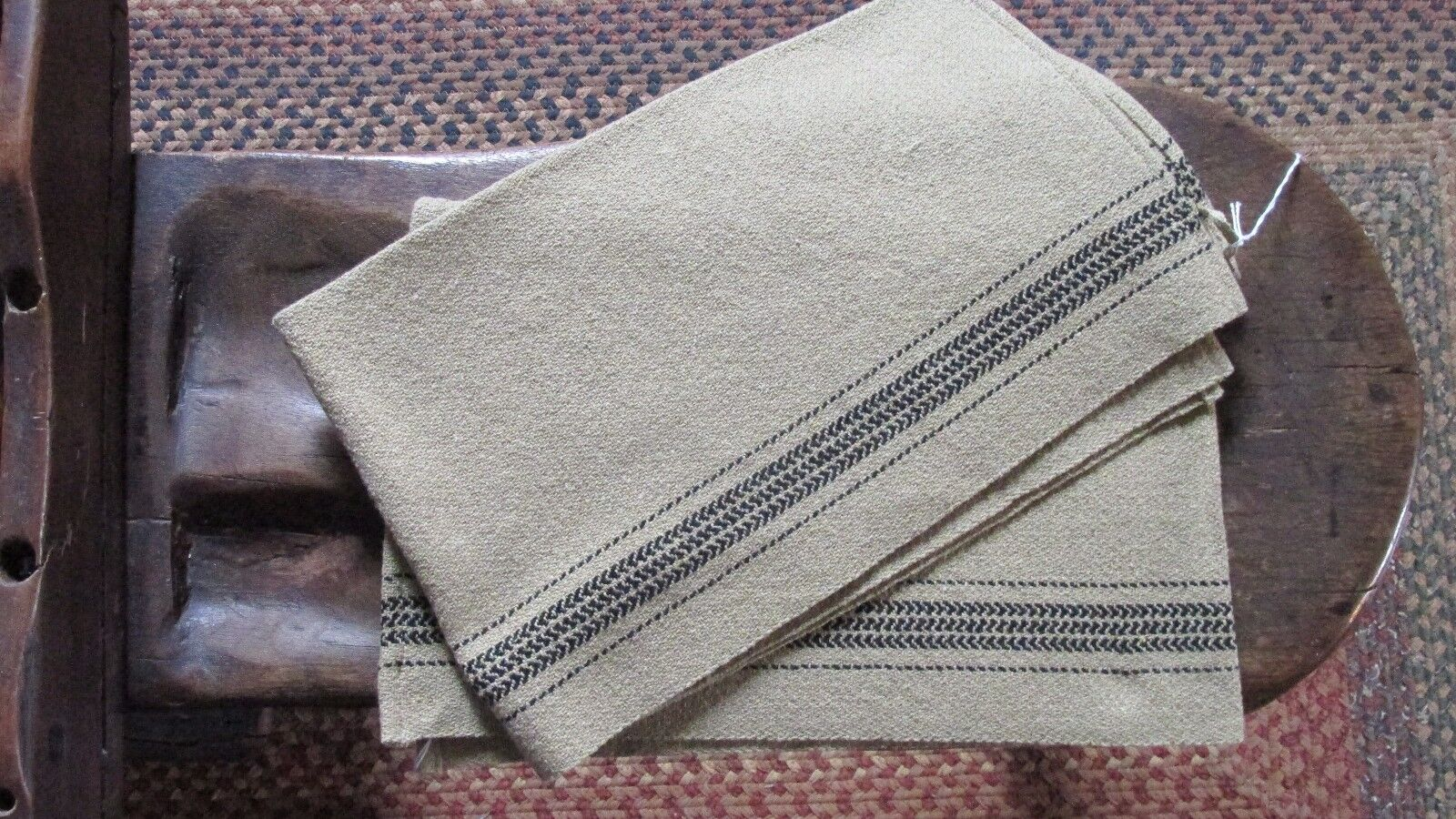 NEW Family Heirloom Weavers Hanging Hand Towels (Pair) Barn Stripe No. 2