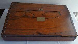 Antique wood sloped lap writing desk w document storage ebay - Wood lap desk with storage ...