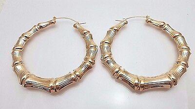 Gold Tone Bamboo Style Hoop Earrings Door Knocker Big Hoops #4 ()