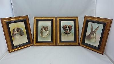 Set of 4  Vintage Cigarette Silks Framed