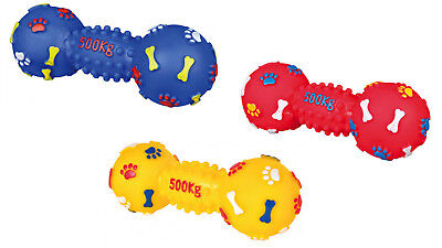 DOG TOY DUMBBELL Vinyl Dog Toy WITH SQUEAKER 19cm Colours Vary Squeak x1