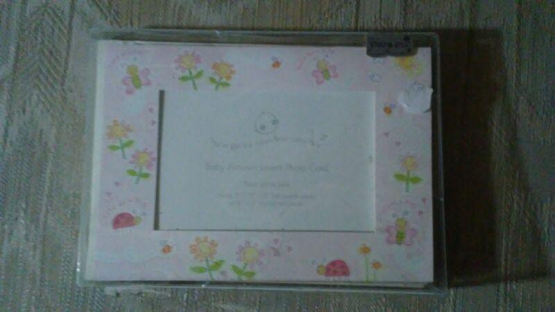 """Mara-Mi Baby Announcement Photo Cards 8 4x6"""" Or 3.5x5"""" Photo Cute As A Bug Pink"""