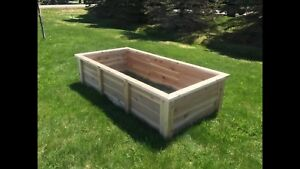 Custom built cedar raised garden beds