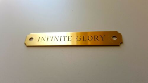 """HALTER PLATE NOTCHED 4.5""""x 3/4"""" BRASS CUSTOM ENGRAVED HALTER BROW NAME PET TAG"""