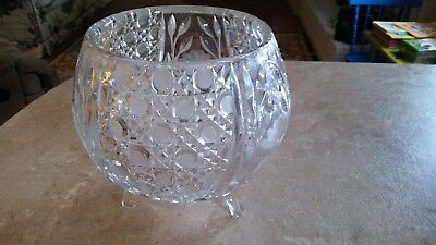 EAPG Glass Large Daisy Button Etched Rare Round Footed Centerpiece Rose Bowl
