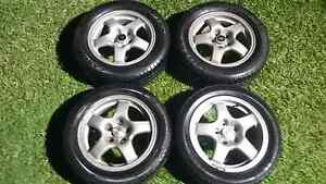 "SET OF 4 GENUINE JDM R32 SKYLINE 16"" ALLOYS WHEELS AND TYRES Kallangur Pine Rivers Area Preview"