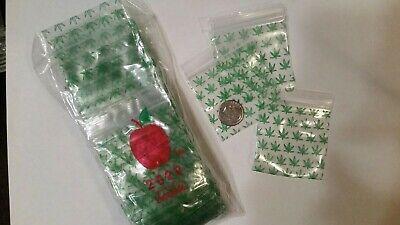 100 Pot Leaf Apple Baggies 2 X 2 In. Mini Ziplock Bags 2020 Weed