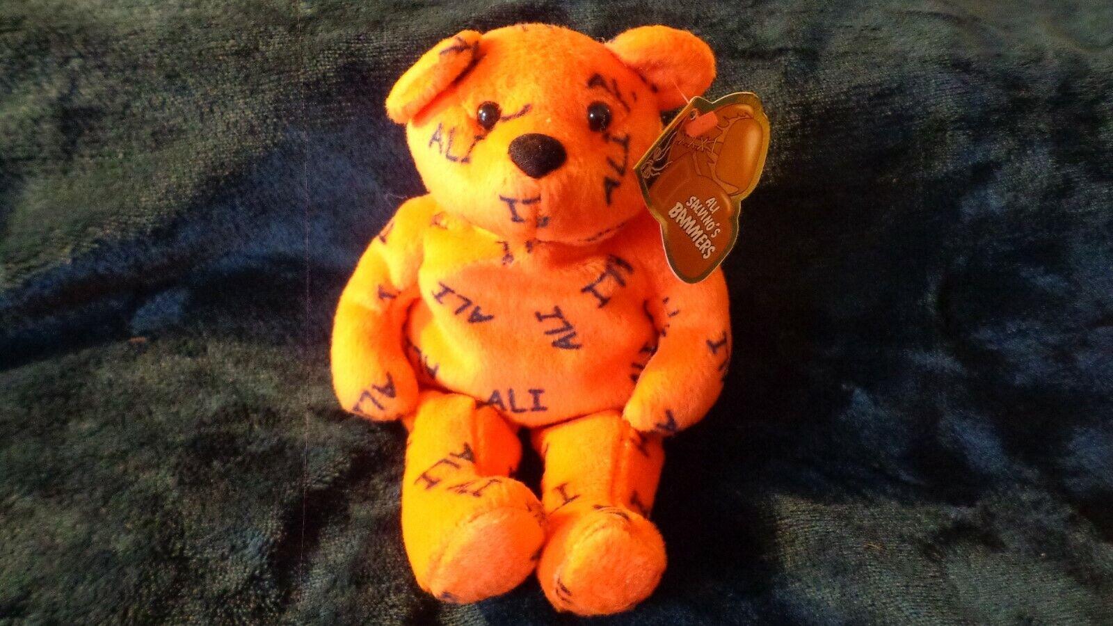 NWT Muhammad Ali Bear Beanie Bean Feb 1999 Ali Salvino's Bammers Orange NICE!!
