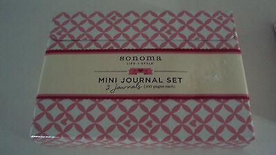 Sonoma Life & Style Mini Journal Set 3 Journals 100 sheet each Pink & White Box Style Journal Set