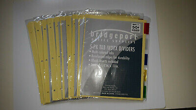 Lot Of 10 Bridgeport 3-ring Binder Index Dividers W 5 Multicolored Tabs
