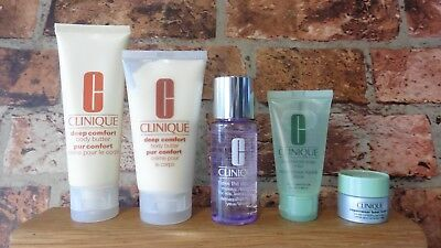 CLINIQUE 5 PIECE BEAUTY TRAVEL SET BODY BUTTER MAKE-UP REMOVER EYE CREAM SOAP S3