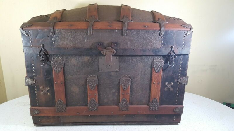 Antique Steamer Trunk Vintage Victorian Wooden & Medal Dome Top Chest MM Secor