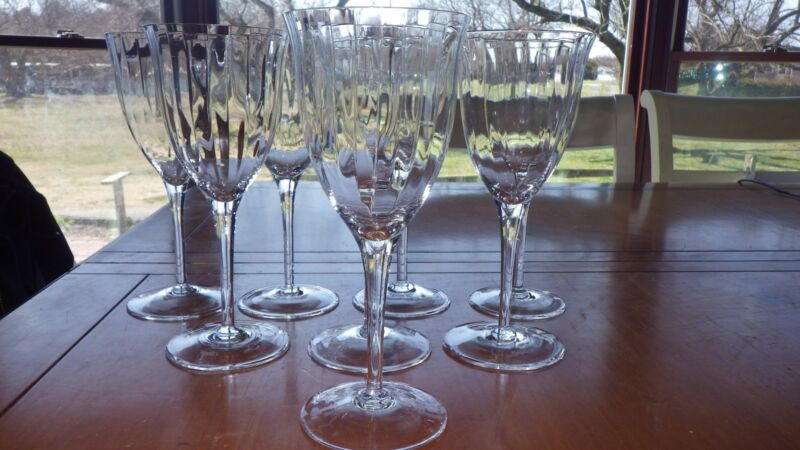 GORHAM CRYSTAL Water Goblets Glasses Laurin Gold Optic Panel Elegant stems 8 11z
