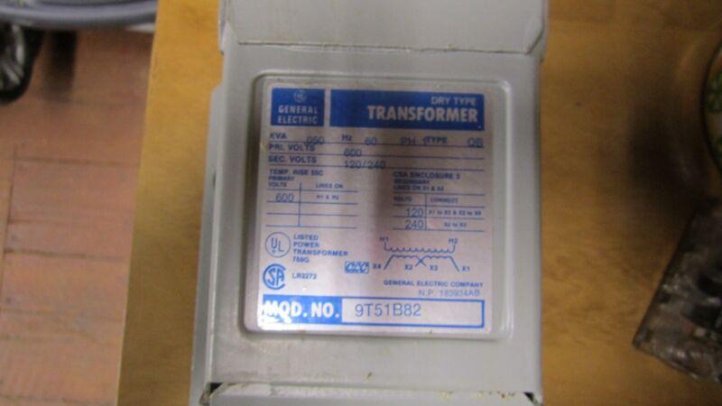 GE 9T51B82 Transf  .050KVA 600V pri/120-240 sec