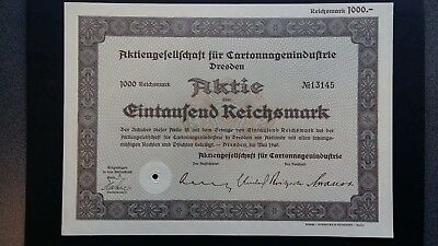 Aktie AG für Cartonagenindustrie 1000 RM 1940 Dresden