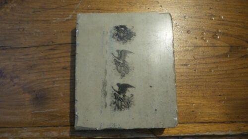 Antique Litho Stone Printing Block EAGLE & AMERICAN FLAG SHIELD