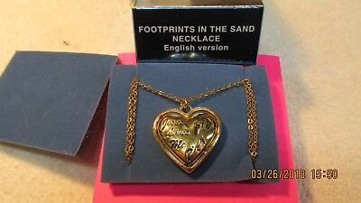 """Vintage Avon GoldTone Footprints in the Sand Heart Shaped Necklace 16"""" - Heart In The Sand"""