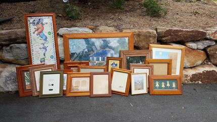 Assorted prints and picture frames
