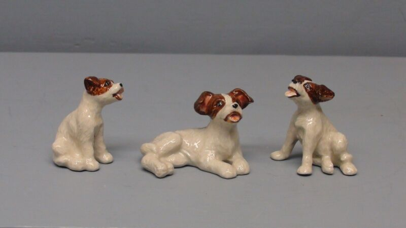 Northern Rose Porcelain Jack Russell Terrier Dog Trio