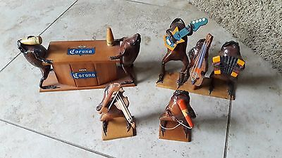 Vintage Lot 4 RARE Novelty Taxidermy Frog Band Musicians Guitar Drinking Players
