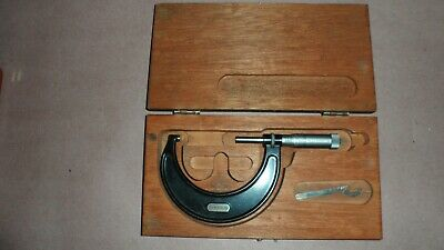 Vintage Starrett 2 - 3 Micrometer No. 436 In Wood Case Great Condition