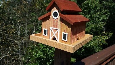 Little Red Barn Bird Feeder Solid Cedar Wood Handcrafted in USA