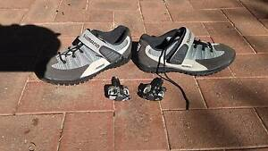 Shimano Mountain Bike shoes with cleats and pedals. Sz 43 Eden Hill Bassendean Area Preview