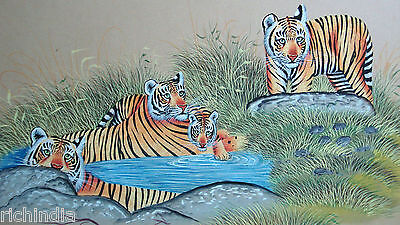 Bengal Tiger family Indian Animal Wild life Miniature Painting Handmade Forest