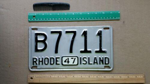 License Plate, Rhode Island, 1947, B 7711