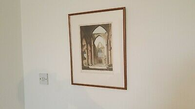 Vintage signed Tintern abbey pencil sketching may be