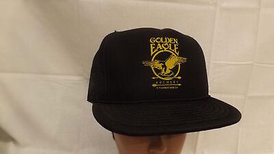 Vtg Golden Eagle Archery Black Mesh Snapback Hat Cap NOIS Bow Hunting 34734cc809bb