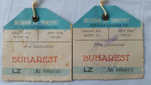 2 Vintage Bulgarian Air Transport Airlines Baggage / Luggage Tags