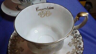 -  50th Wedding Anniversary Congratulations Royal Albert Cup & Saucer, England