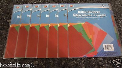 56 Plastic Standard 3-ring Binder Inserts Index Dividers Mixed Colors With Tabs