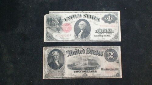 1917 ONE & TWO DOLLAR  UNITED STATES Notes FR# 39 & 60 $1 & $2 Bills BUY IT NOW!