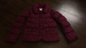 Girls Plum Puffy Coat - size 10-12