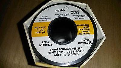 Kester 285 Rosin Core Solder One 1lb Roll .031 Pn 24-7317-9713 New Sn10pb88ag02
