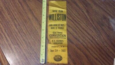 1927 Williston North Dakota Fireman's Convention Harvey Tournament Ribbon
