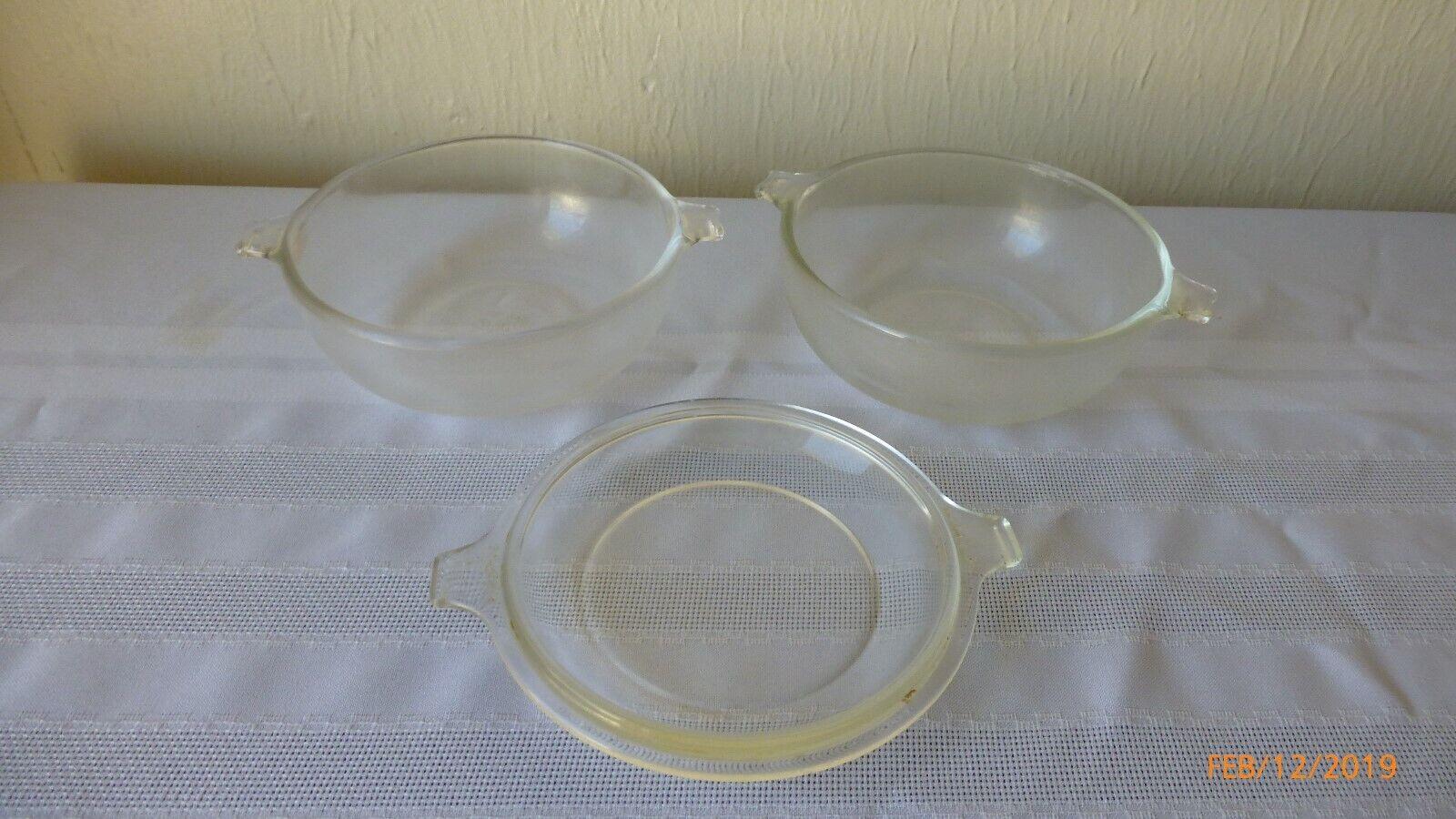 Vintage Pyrex 20 Oz Mini Clear Casserole Dishes 2 Casseroles 1 Lid Set Of 3  - $14.95
