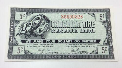 1962 Canadian Tire Five 5 Cents CTC-7-A1 Uncirculated Money Bonus Banknote D052