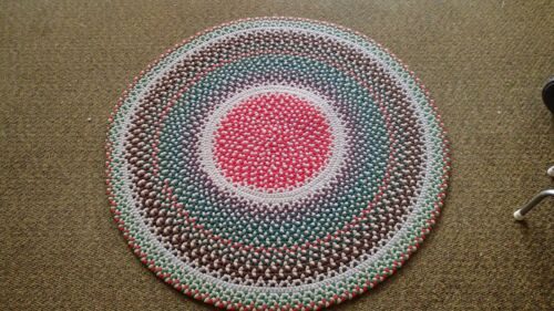 "Vintage Antique Hand Handmade Braided Rug 48"" Round Multi Color #9"