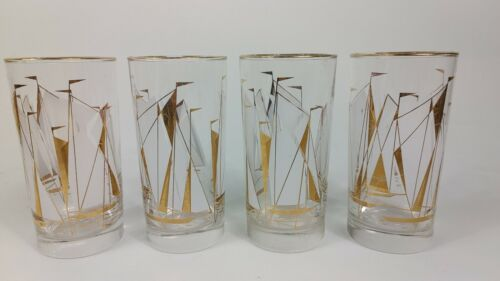 """Vintage Mid Century Libbey Gold White Sailboats 5.5"""" Glass Cocktail Tumblers"""