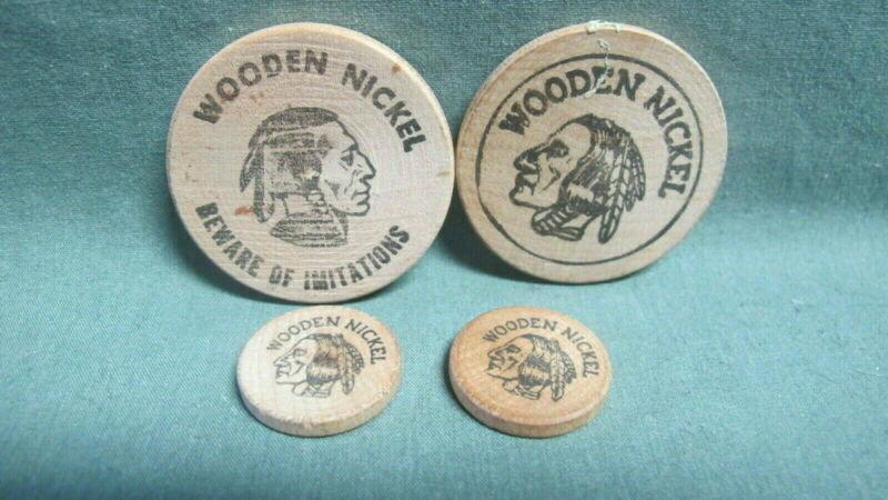 Vintage Lot of 4 wooden Nickels