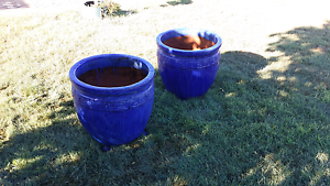 EXTRA LARGE BLUE CERAMIC POTS x 2 East Maitland Maitland Area Preview